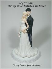 Army Blue Enlisted w/ Beret Military Bride Groom Wedding Caketop 49ABEB1