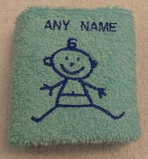 Personalised Baby Boy Face Cloth Flannel Any Name 100% Cotton