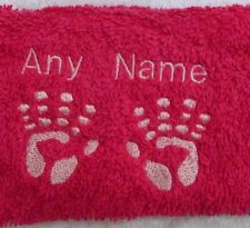 Personalised Baby Hands Face Cloth Flannel Any Name 100% Cotton New Baby