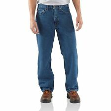 Carhartt Flannel Lined Relaxed Fit Straight Leg Work Jeans Darkstone B172 DST