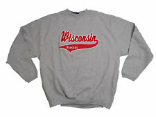 WISCONSIN BADGERS GREY ADULT EMBROIDERED V-NOTCH CREW SWEATSHIRT NEW