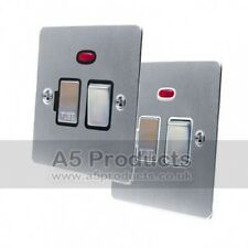13 Amp Fused Switch Spur with Neon Satin Brushed Matt Chrome FLAT Style