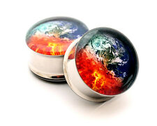 Pair of Armageddon Picture Plugs gauges Choose Size new earth world