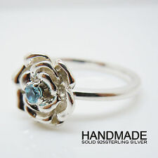 Rose Silver Ring,Ladies Handmade Solid 925Sterling Silver Flower Ring