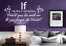 IF I LAY HERE SNOW PATROL QUOTE WALL ART STICKER TRANSFER DECAL MURAL BEDROOM