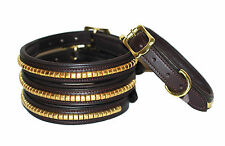 Strong Clincher leather dog collar, lined and padded with solid brass fittings