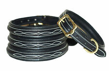 Fancy stitched Leather dog collar, lined and padded with solid brass fittings