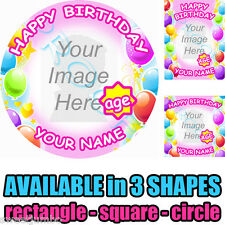 Edible Photo Image Picture Printed on Icing Cake Topper - Happy Birthday - Girl