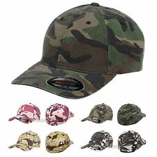 Flexfit Mens Camouflage Cap Structured Camo Fitted Hat S/M L/XL 6977CA