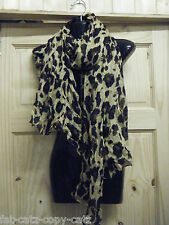 "Animal Leopard ""U"" Print Large Brown Beige Pink Ladies Scarf Shawl UK Seller"