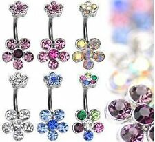 Surgical Steel Crystal Gem Double Flower Belly Bar 10mm - Choose Colour