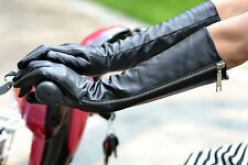 "40cm(15.7""long side zipper real leather evening/opera gloves(S M L XL Custom)"