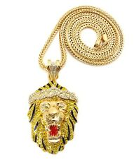 """ICED OUT BIG SEAN LION FACE PENDANT & 4mm/36"""" FRANCO CHAIN HIGH NECKLACE MP800"""