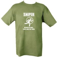 MILITARY T-SHIRT SNIPER NO NEED TO RUN DIE TIRED MILITARY FUNNY SHOOTING ARMY