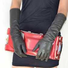 "40cm(15.7"")long plain real sheep leather evening/eblow gloves*Dark grey"