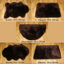SOFT FLUFFY PLAIN WASHABLE CHOCOLATE BROWN COLOUR FAKE FAUX FUR SHEEPSKIN RUGS