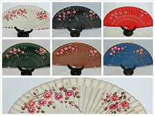 """Spanish flamenco hand painted wooden folding fan direct from Spain 9"""" x 16"""""""