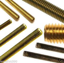 """Threaded Rod SOLID BRASS 12"""" length - 1 foot lengths CHOOSE YOUR SIZE  NEW!"""