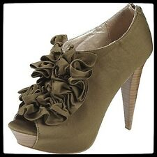 Qupid Olive Fabric Sexy Womens High Heel Open Toe Shoes (Retail $48)