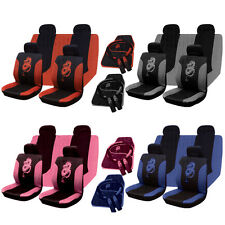 13PC UNIVERSAL FULL CAR SEAT COVER SET DRAGON STYLE GREY BLACK WASHABLE PINK RED