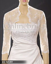 Bridal wedding 3/4 sleeve soft lace bolero jacket shrug -PICK SIZE S-4X
