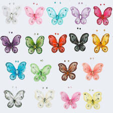 """FREE SHIPPING 10 - 2"""" Nylon Craft BUTTERFLY Glitter Wire Crystal Party Decor"""