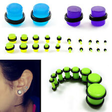 UV Ear Plug Gauge Stretching Expanding Set Acrylic Black/White/Blue/Green O-Ring
