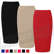 Ladies Skirt Womens Pencil Skirt Bodycon Fitted Ribbed Office Hen Party Zip Sexy