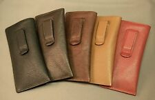 Premium Leather Eyeglass / Glasses Case with CLIP - NEW
