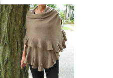NWT Magaschoni Ruffle Cashmere Wrap Shawl $378, Black Ivory MANY OTHER COLORS