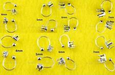 4 Pairs 'U' Clip On Silvertone Stud Earring Findings 4 Round/Square CZ Earrings