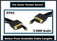 S-VGA)With(3.5mm Stereo Audio Jack)PC Computer Laptop Monitor/TV Cable Wire Cord