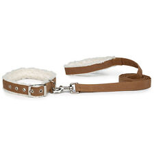 East Side Collection Cozy Sherpa Dog Collars Faux Leather Collars and Leashes