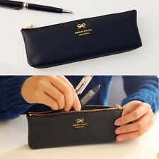 Colorful n Simple Ribbon Pencil case Synthetic leather organizer cosmetic Pouch