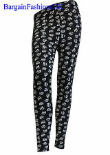 "NEW LADIES FULL LENGTH STRETCH FIT ""Hey Boy"" PRINT WOMENS LEGGING Size 8-14"