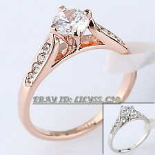 Fashion Engagement Wedding Ring 18KGP CZ Rhinestone Crystal Size 5.5-10