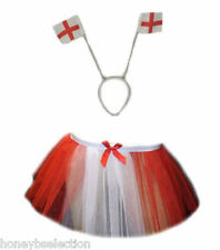 WORLD CUP ENGLAND RED WHITE TUTU SKIRT FANCY DRESS SPORTS BOOK DAY