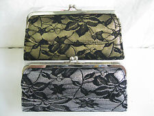 LADIES BLACK LACE GOLD OR SILVER CARD & COIN PURSE WITH SILVER  CLASP