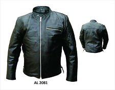 Mens Black Leather Scooter Jacket Side Lace, Euro Collar Zipout Liner