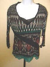 Black/Turquoise Multi-Colored Pleated Accordion Style Blouse by Lindi Sz Sm NWT