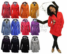 Ladies Womens Hooded Belted Jacket Coat Mac Trench Double Breast Button Up 007