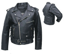 Allstate Mens Classic Black Leather Motorcycle Jacket w Side Lace / Zipout Liner