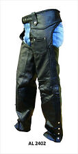 Unisex Black Leather Motorcycle Chaps w Buffalo Nickel Snaps, Braided Seams