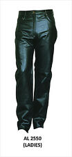 Ladies Womens Black Analine Leather 5-Pocket Jean Style Pants
