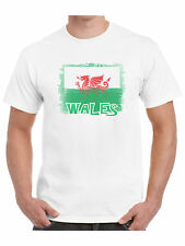 Wales T Shirt Shabby Welsh Flag Dragon of Cadwaladr Cymru Football Rugby Holiday