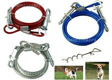 6FT TIE OUT DOWN CABLE LEAD LEASH EXTENSION DOG PET PUPPY CHEW PROOF WIRE 31070