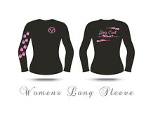 Womens Long Sleeve Hunting t shirt,Girls can't What? shirt, huntress,pink,deer