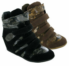 LADIES/WOMEN 4 VELCRO STRAP WEDGE HEEL ANKLE SNEAKER BOOT UK *SIZES 3 4 5 6 7 8