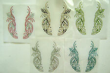TRIM / COLLAR SWIRL DESIGN RHINESTONE IRON ON APPLIQUE / HOT FIX TRANSFER