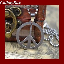 New Satin Polished Stainless Steel Peace Sign Charm Pendant Necklace FREE CHAIN